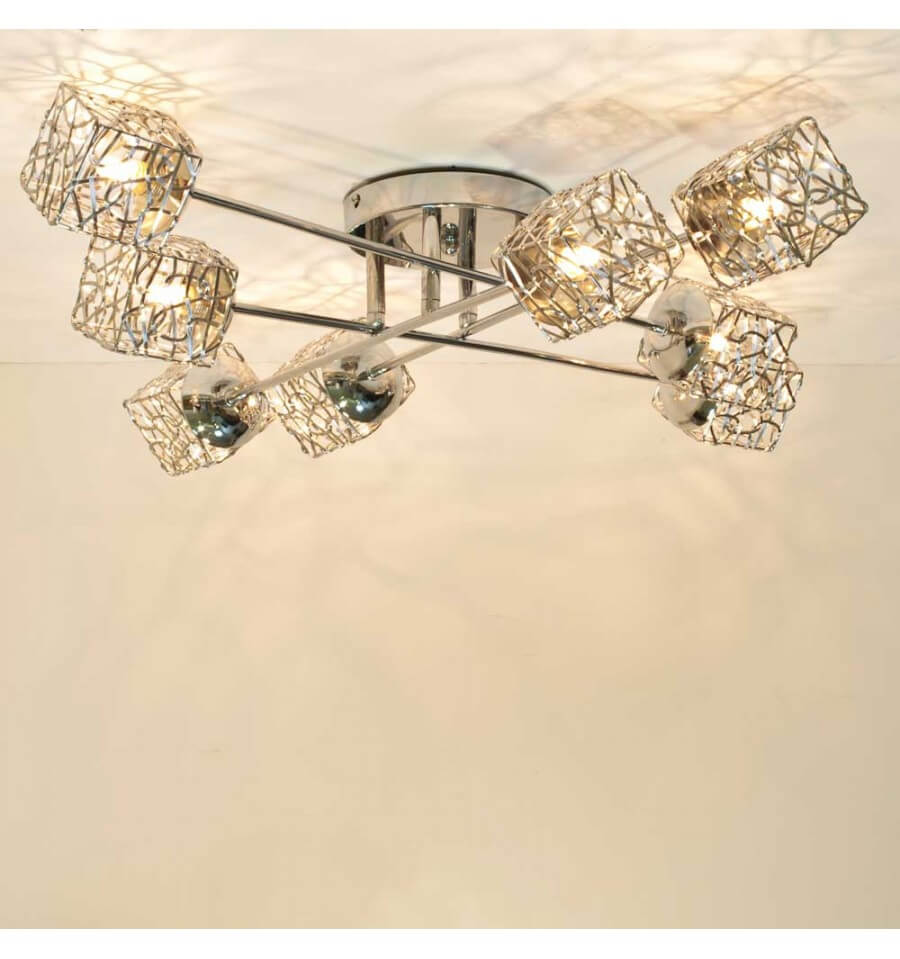 Plafondlamp design kubus 8 lichtbronnen aphyse for Table suspendue au plafond