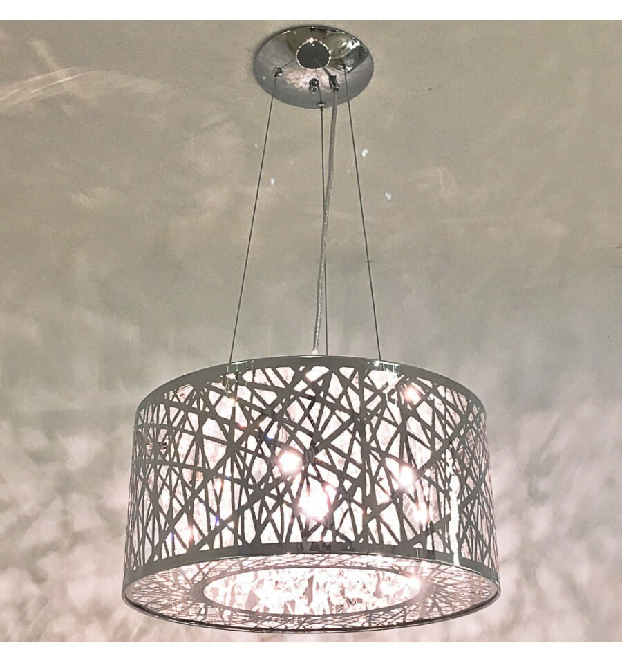 Hanglamp modern design chroom kristal tol do - Moucharabieh metaal ...