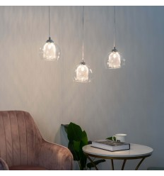 triple chroom en glashanglamp - Lilas